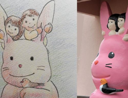 もみじ幼稚園に新しいシンボル『ほほえみ うさ』が登場しました!